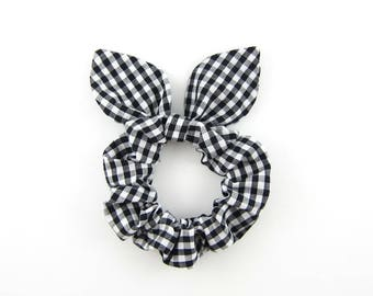 Knot Bow Hair Scrunchie Black and White Gingham
