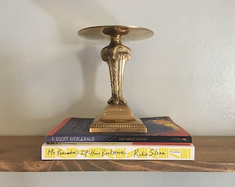 Vintage Brass Candle Holder // Pillar Candle Stand // Rams Head Design // Mid Century