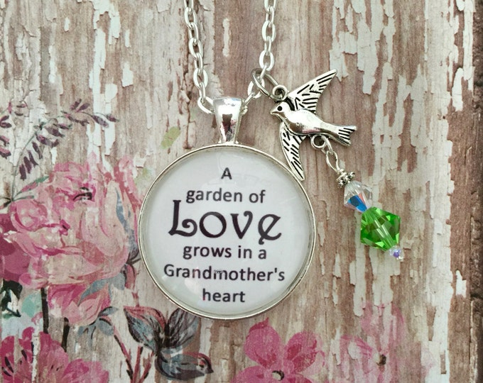 Grandmother Necklace pendant with silver bird and Swarovski crystals on silver link chain necklace with scripture card 1 Corinthians 13:7-8