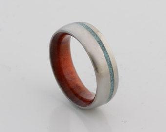 WOOD WEDDING BAND lapis ring with Mahogany Wood titanium