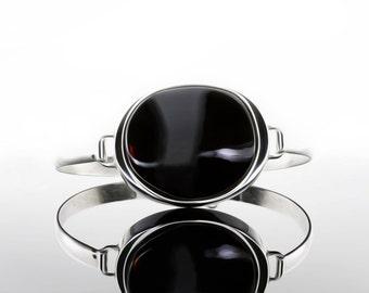 Black Amber Stone Bracelet, Baltic Amber Stone Bracelet, Black Silver Bracelet, Silver Hinged Bracelet, Black Stone Bracelet, Nice Bracelet