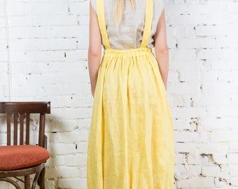 Yellow linen dress, loose fit dress, high waist dress / LD0030