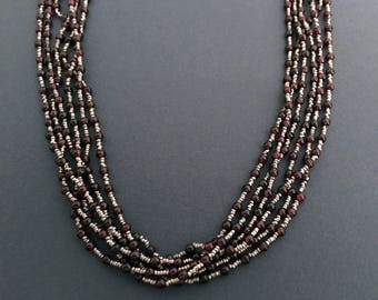 "6 Strand Necklace, Sterling Silver & Garnet Bead Vintage Necklace, 27"" Long"