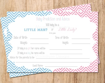INSTANT DOWNLOAD . Little Man or Little Lady Guess Card . Gender Reveal Party . Baby Shower Game . PDF File