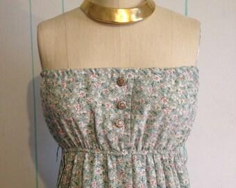 Vintage Altered Green a Floral Dress Size 8