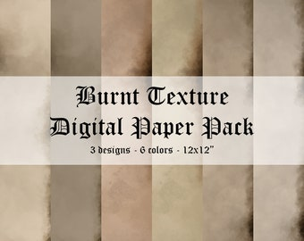 Burnt Texture Digital Scrapbook Paper Pack