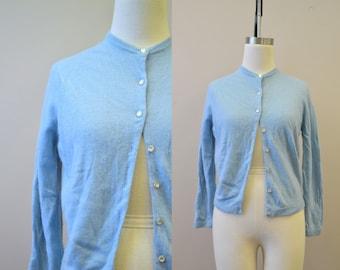 1950s Downen Blue Cashmere Cardigan Sweater