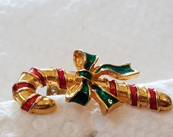 Vintage Candy Cane Pin, Christmas Pin