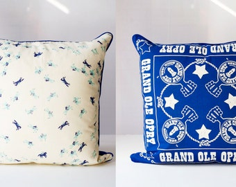 GRAND OLE OPRY & Ponies   Vintage Scarf Pillow Cover    Blue + White Home Decor   Handmade ooak   Western, Country Music, Nashville