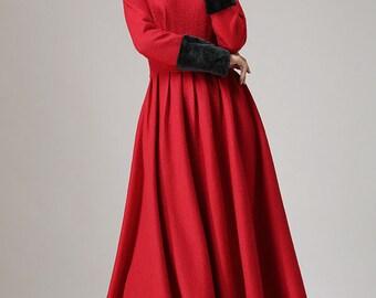 Red wool dress, maxi dress for women, winter dress, elegant dress, high waisted dress, handmade dress, party dress, gift for women (737)