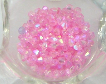 Lot 100 pink AB plastic bicone beads - 4mm