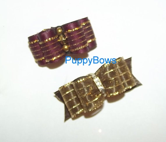 Puppy Bows ~assorted BOW SETS boys or girls, tiny bows pet hair clips ~USA seller
