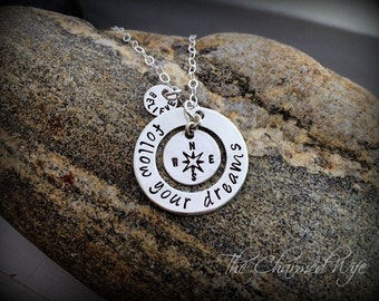 Graduation Necklace - Inspirational Graduation Jewelry- Follow Your Dreams - Compass Jewelry  Hand Stamped Sterling Silver -Personalized