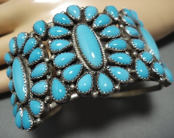 Amazing Tim Yazzie Vintage Native American Navajo Sterling Silver Turquoise Bracelet Old