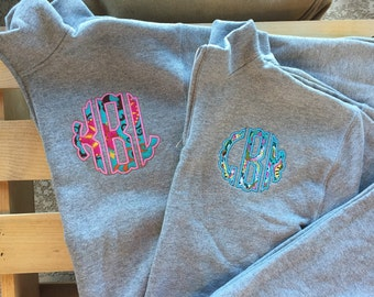Youth Quarter zip sweatshirt, monogram sweatshirt, half zip sweatshirt, youth sweatshirt, girl's monogram quarter zip, applique monogram,