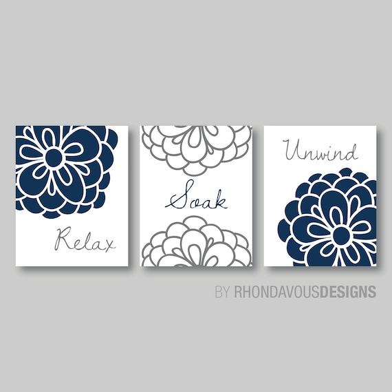 Floral relax soak unwind print trio bathroom home decor wall for Blue grey bathroom accessories