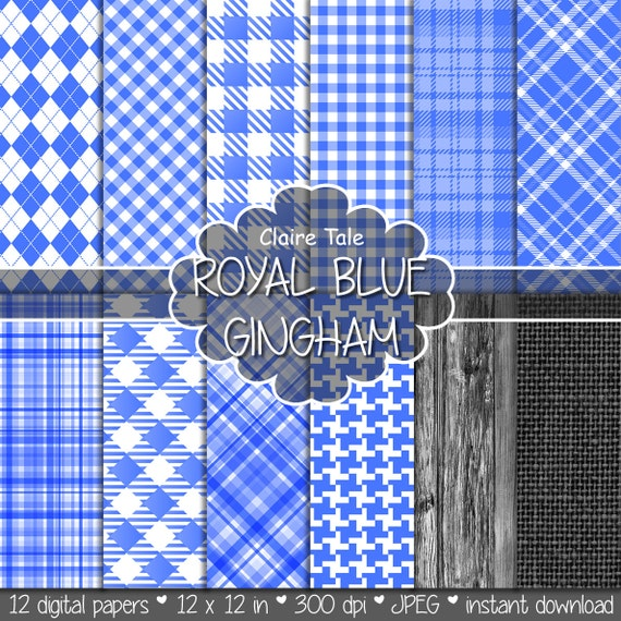 Royal blue gingham paper, Royal blue printable tartan, Royal blue houndstooth background, Royal blue rhombus pattern, Royal blue scrapbook