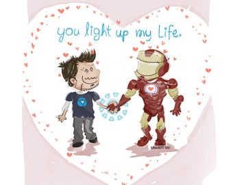 You Light Up My Life Iron Man Sweet Heart, Mother's Day Card, by Spaghetti Toes, Greeting Card with Envelope