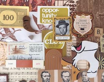 Color Pack- Vintage ephemera lot Paper pack mixed media assorted pack brown, tan, beige, rust, mustard