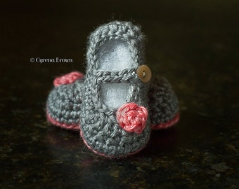Crochet Two Toned Little Dot Mary Jane Shoes Newborn 0-3mth