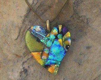 Rainbow Heart Pendant Fused Dichroic Glass Earth Tones Heart Necklace
