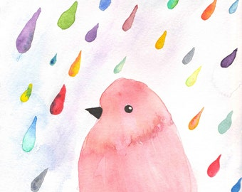 Bird Watercolor, Bird in the Rain, Raindrops, Colorful Bird, Bird Art, Bird Print, Rain Art, Rain Print, Rain Watercolor, 8x10, 5x7, Pink,