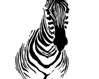 Watching | PRINT ONLY | Wildlife Decor | African Decor | Safari Decor | Zebra Art | Safari Art | India Ink Illustration | Safari Watercolor