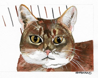 Cat Note Cards, Watercolor - No.  1613    Montana