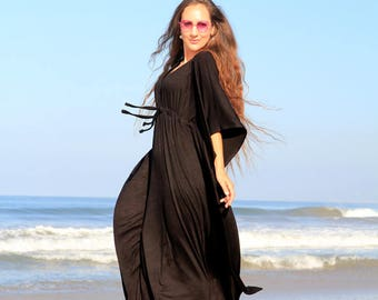 Black Kaftan - Maxi Dress in Jersey Knit - Long Caftan Dresses - Lots of Colors