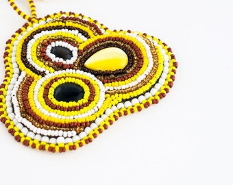 Embroidered, Modern Embroidery, Beaded Necklace, Seed Bead Necklace, Bead Embroidery, Bohemian Jewelry, Hand Embroidered, Embroidery