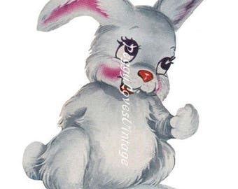 Animals 3 a Bashful Bunny a Digital Image from Vintage Greeting Cards - Instant Download