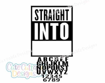 Straight Into Blank Template Bundle with Letters/Numbers SVG, dxf, Eps, Studio Printable Png Silhouette, Cricut, Straight Outta SVG Cut File