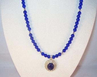 Denim Lapis and Mountain Jade Necklace