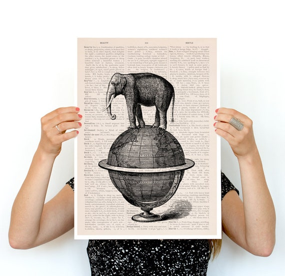 The elephant takes a walk poster , ,Elephant poster ,World map poster, Giclee elephant poster, nursery ANI093PA3