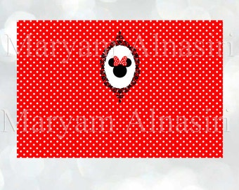 """Printable Backdrop , Minnie mouse theme ,red, polka dots , 72""""w x 48""""h, Instant download"""