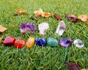 Chakra Stone Set  Tumble Stones + Healing Crystals Chakra Gift, Amethyst Cluster, Rose Quartz, Meditation, Reiki Healing, Crystal and Stone
