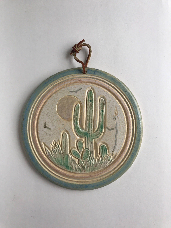 Cactus colgante Arte Cactus cerámica Sudoeste de arte