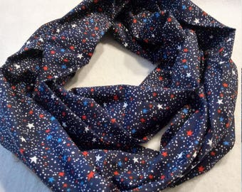 Red, White and Blue USA military cotton infinity scarf,  4th of July, patriotic, MIA, POW