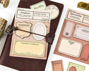 Stickers Post Its for Travelers Notebook Vintage Planner Travelling Ideas Decor Stamps for Midori