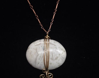 Scolocite pendant on antiqued copper chain