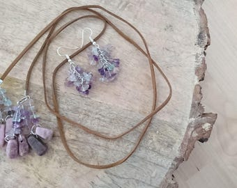Necklace and Earrings fluorite with Rhodonite