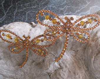 Pair of Dragonfly Pins Brooches Gold Rhinestones and Beads