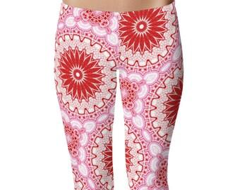 Leggings Yoga Art Print Leggings, Gypsy Boho Yoga Pants, Red and Pink Mandala Yoga Leggings, Printed Art Tights, Stretchy Pants
