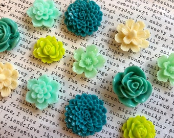 Fridge Magnets, 12 pc Flower Magnets, Teal, Lime Green, Cream, Kitchen Decor, Housewarming Gifts, Wedding Favors