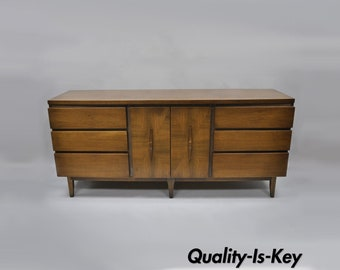 Vintage Mid Century Modern Walnut Long Dresser Credenza by American of Martinsville