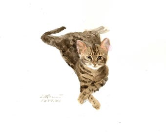 "Original watercolor,watercolor cat,tabby cat,pet painting,8""x8"",home decor"