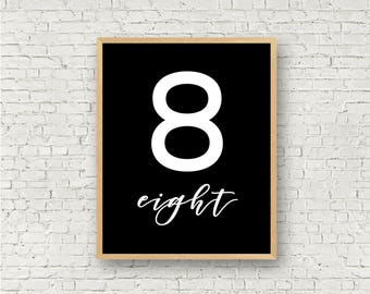 Number Eight // Simple 8 Printable // Individual Numbers Wall Art Print // 8x10 // Digital Print File // Numerology Gift // Black and White