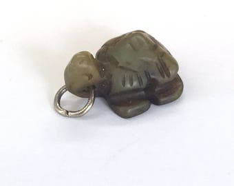 Green Jade Charm Green Jade Turtle Charm Chinese Stone Charms Tortoise Green Jade Charm for Bracelet