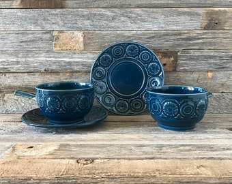Set of 2 Vintage Tams England Blue Cups, Tams, Soup Bowls, Soup Cups