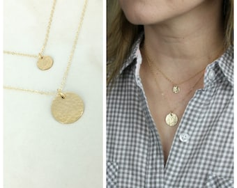 Gold double layered hammered disc necklace • Layering necklace • Sterling Silver or Gold-filled • Set of 2 Layered necklace • Disc necklace